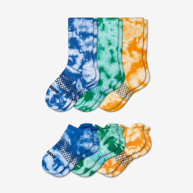 mixed-blue Youth Tie Dye Calf & Ankle Sock 6-Pack