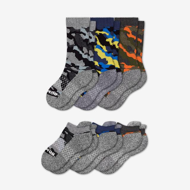 mixed-blue-orange Youth Camo Calf & Ankle Sock 6-Pack