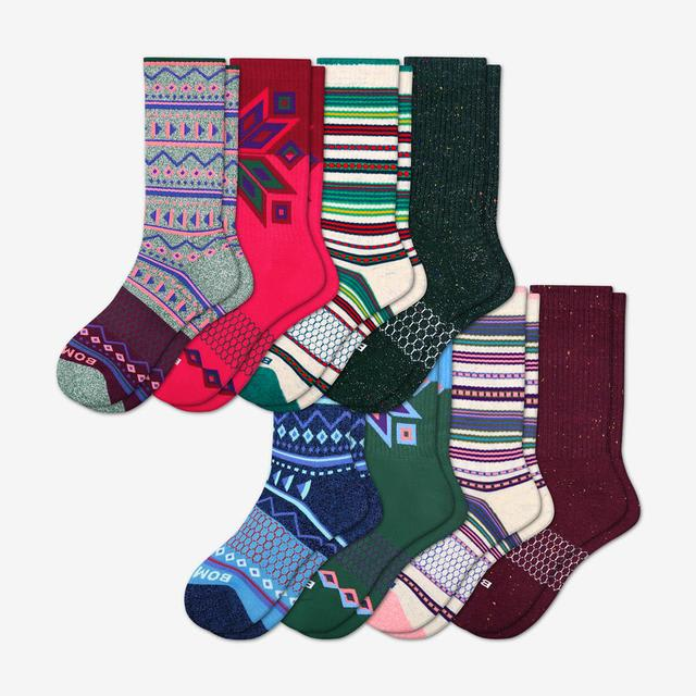 mixed Women's Holiday Calf Sock 8-Pack