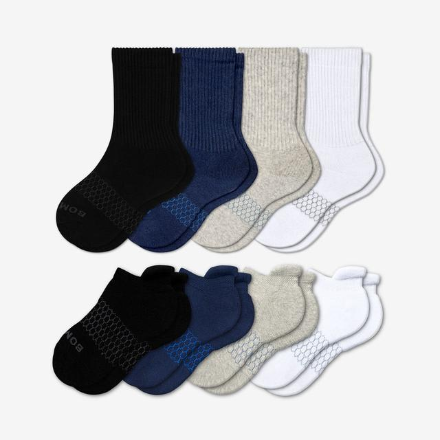 mixed Youth Solids Calf & Ankle Sock 8-Pack