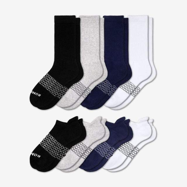 mixed Men's Solids Calf & Ankle 8-Pack