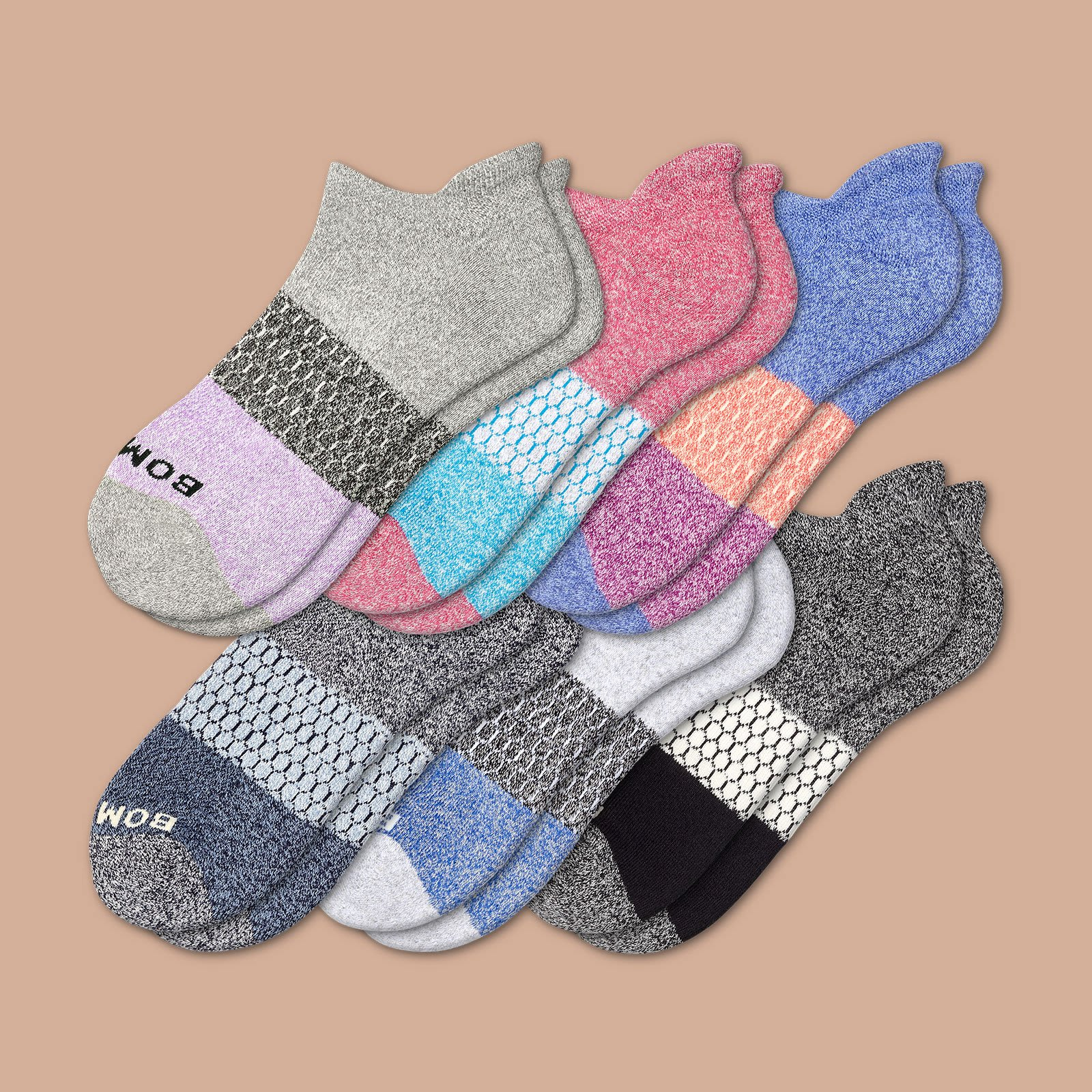 Women's Tri Block Marl Ankle Sock 6 Pack by Bombas