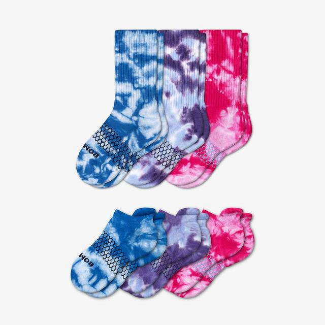 mixed-pink Youth Tie Dye Calf & Ankle Sock 6-Pack