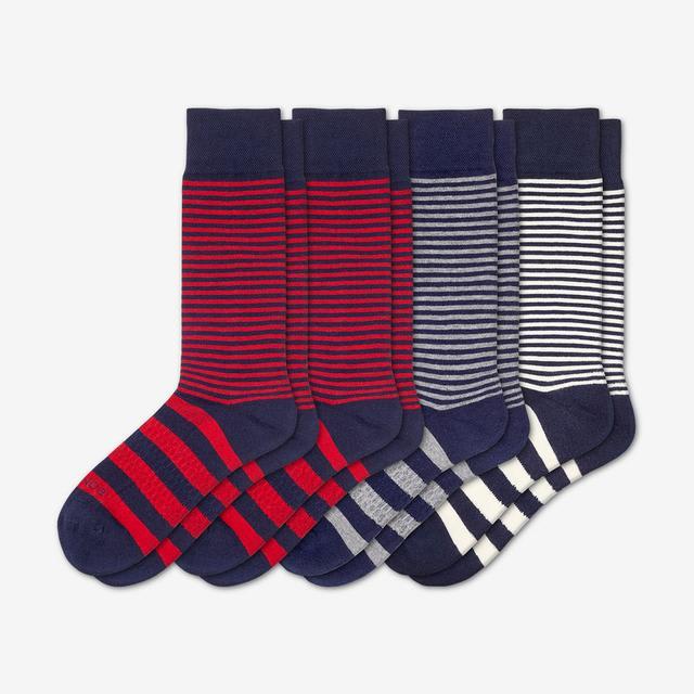 mixed-stripes Men's Mixed Dress Over the Calf Sock 4-Pack