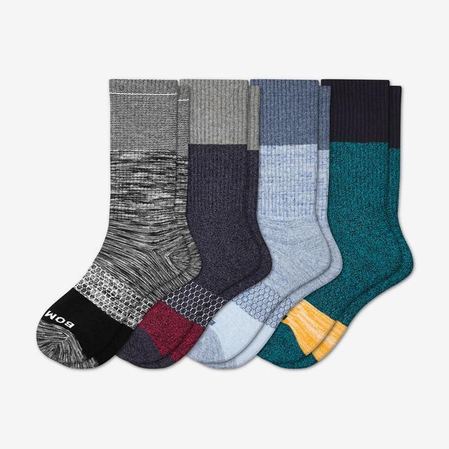 mixed-tri-blocks Men's Tri-Block Calf Socks 4-Pack