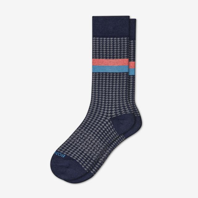 navy Men's Dress Houndstooth Socks