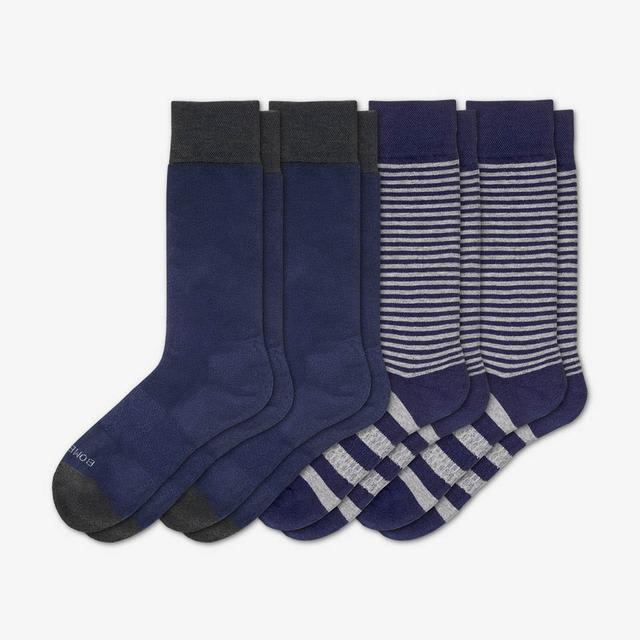 navy Men's Mixed Dress Sock 4-Pack