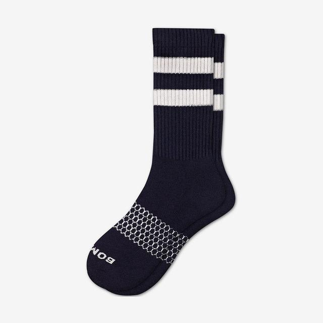 navy-white Men's Vintage Stripe Calf Socks