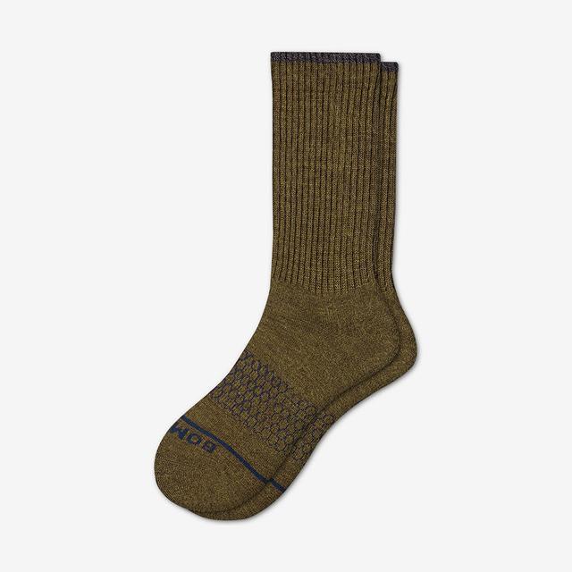 olive Men's Merino Wool Calf Socks