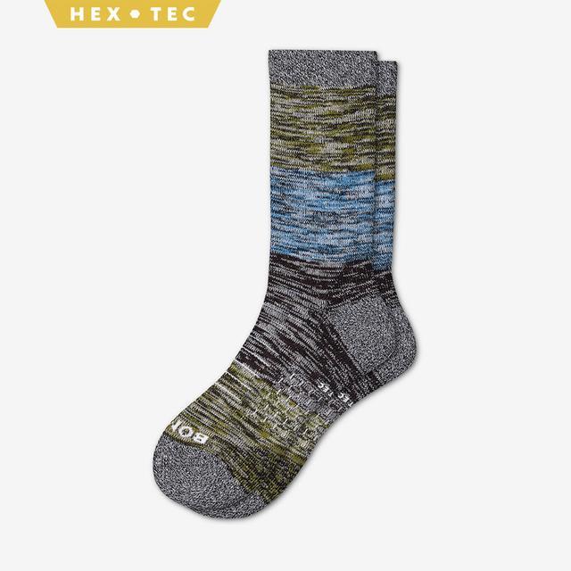 olive-sky-blue-brown Women's Hiking Colorblock Calf Socks