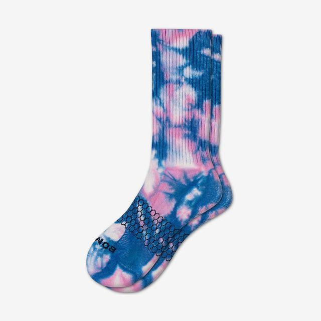 pink-blue Men's Tie Dye Calf Socks