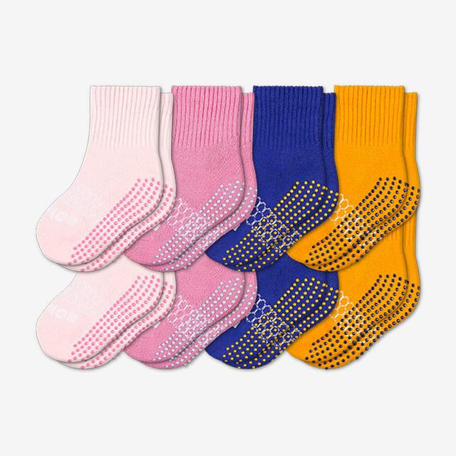 pink-blue-saffron Toddler Gripper Calf Sock 8-Pack