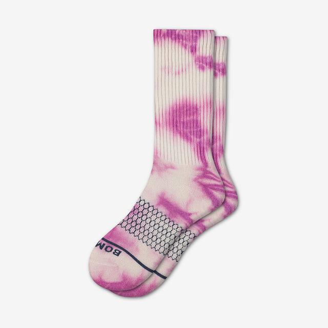 pink Women's Merino Tie Dye Calf Socks