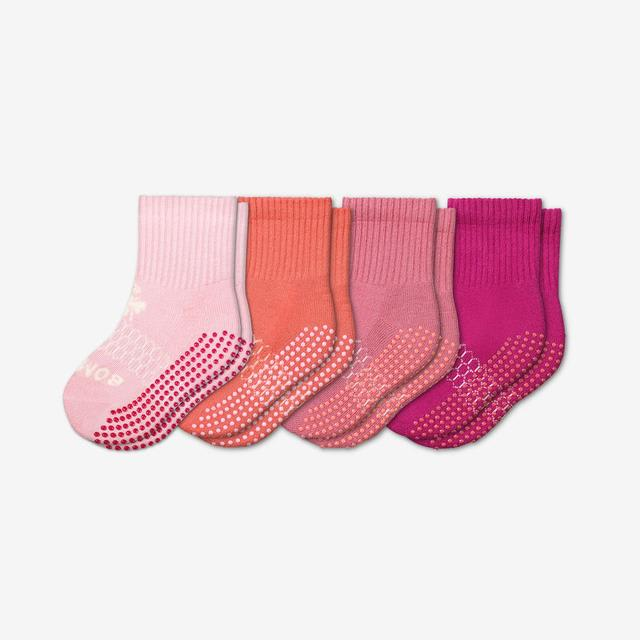 pink-mix Toddler Gripper Calf Sock 4-Pack