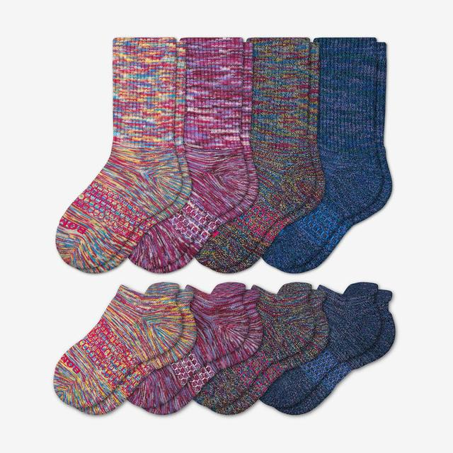 pink-purple Youth Space Dye Calf & Ankle Sock 8-Pack