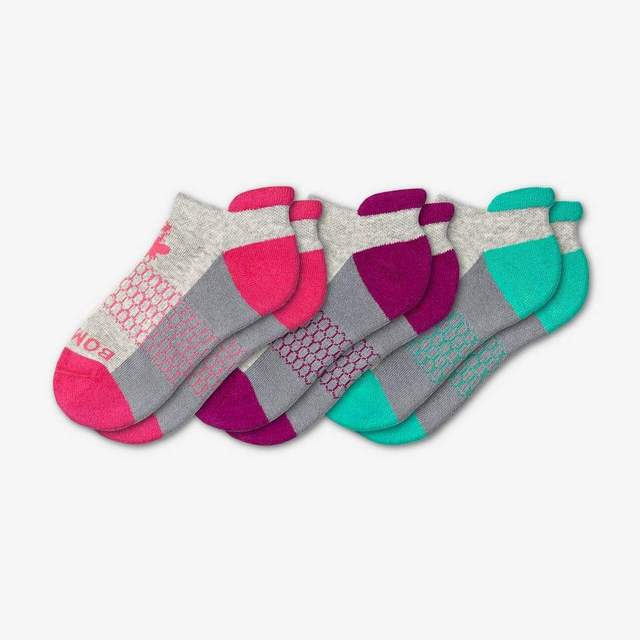 pink-purple-teal Youth Ankle 3-Pack