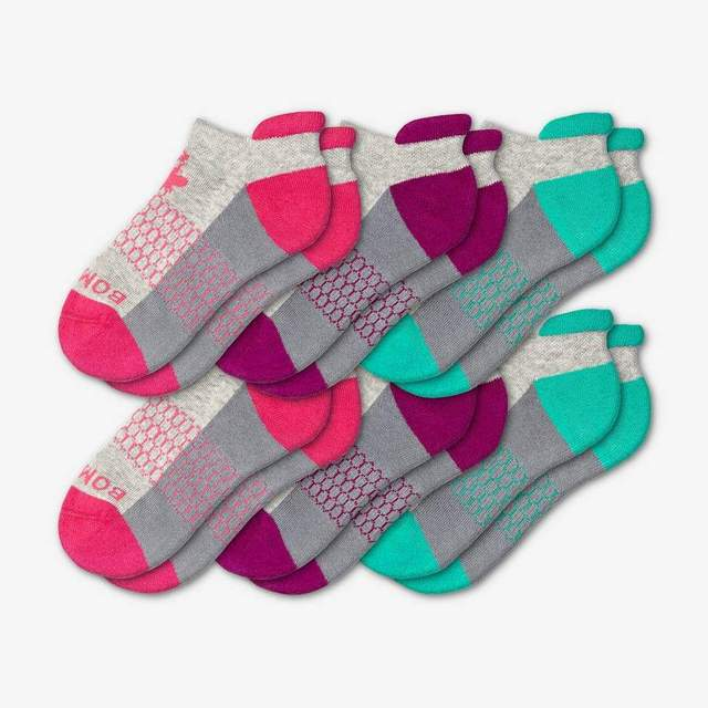 pink-purple-teal Youth Ankle 6-Pack