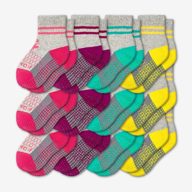 pink-purple-teal-yellow Toddler Gripper Sock 12-Pack