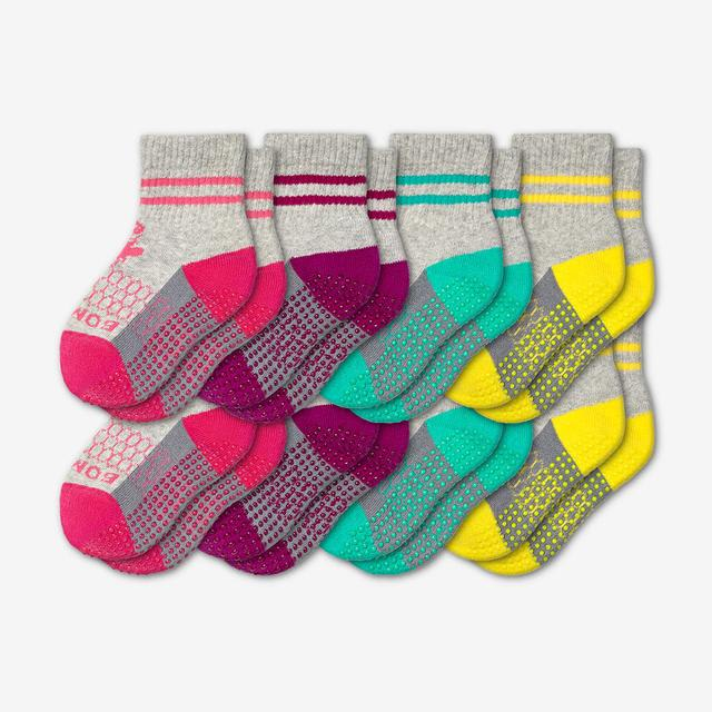 pink-purple-teal-yellow Toddler Gripper Calf Sock 8-Pack