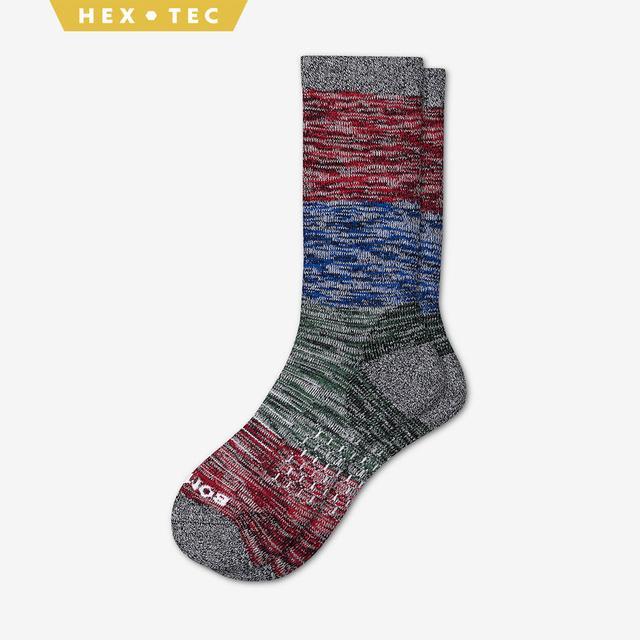 red-blue-green Men's Hiking Colorblock Calf Socks