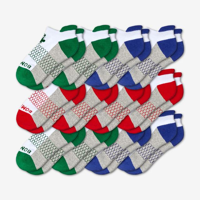 red-green-blue Youth Ankle 12-Pack