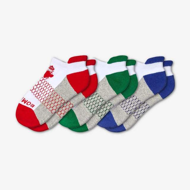 red-green-blue Youth Ankle 3-Pack