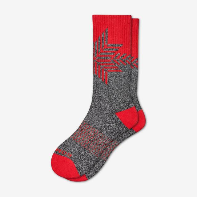 red Men's Snowflake Calf Socks