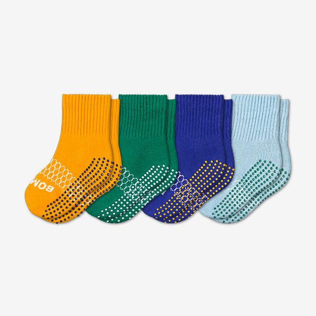 saffron-green-blue Toddler Gripper Calf Sock 4-Pack