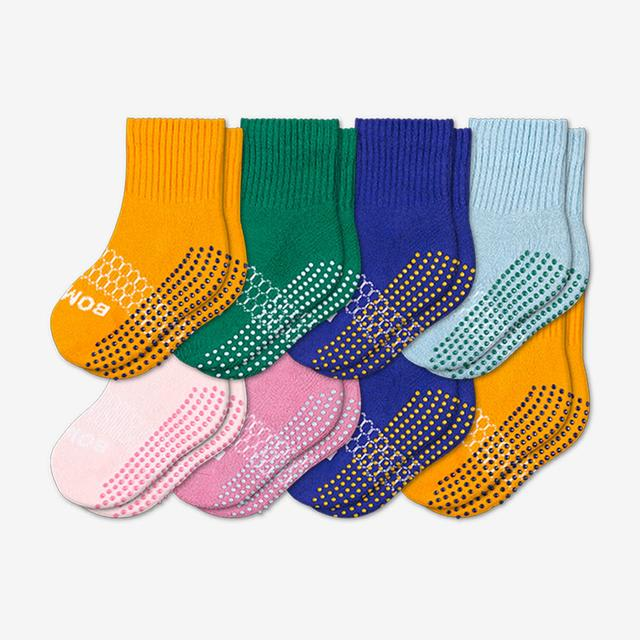 saffron-pink-blue-green Toddler Gripper Calf Sock 8-Pack