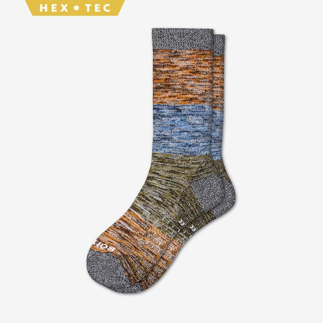 sky-blue-olive-orange Men's Hiking Colorblock Calf Socks