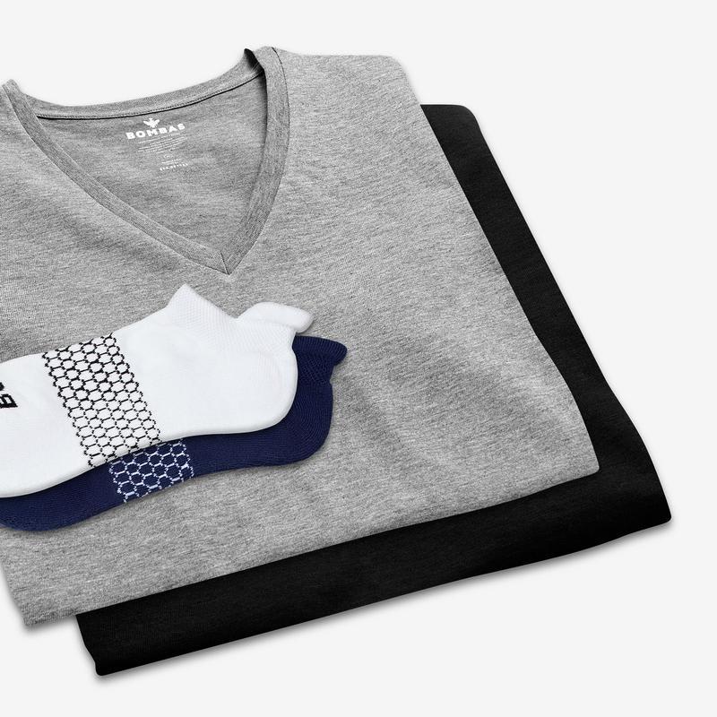 Women's V-Neck T-Shirt & Ankle Sock 6-Pack