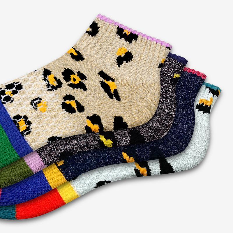 Women's Sparkle Leopard Quarter Socks