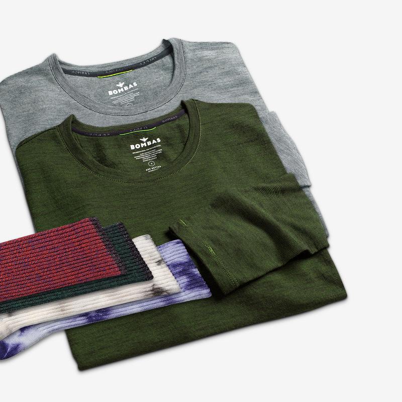 Men's Merino Crew Neck Long Sleeve T-Shirt & Calf Sock 6-Pack