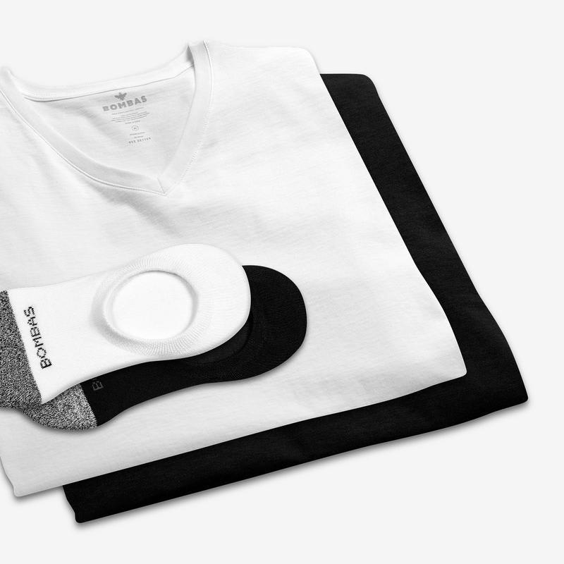 Men's V-Neck T-Shirt & No Show Sock 12-Pack