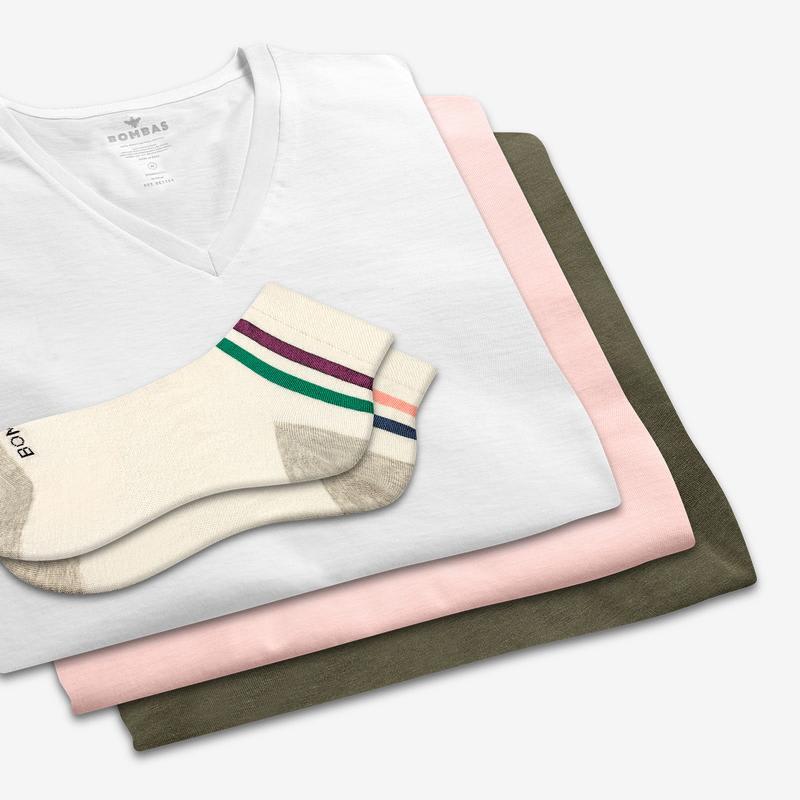 Women's V-Neck T-Shirt & Lightweight Quarter Sock 6-Pack