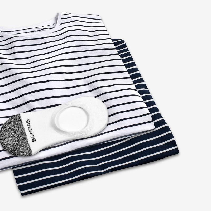 Men's Pima Cotton Nautical Stripe T-Shirt & No Show Sock 6-Pack