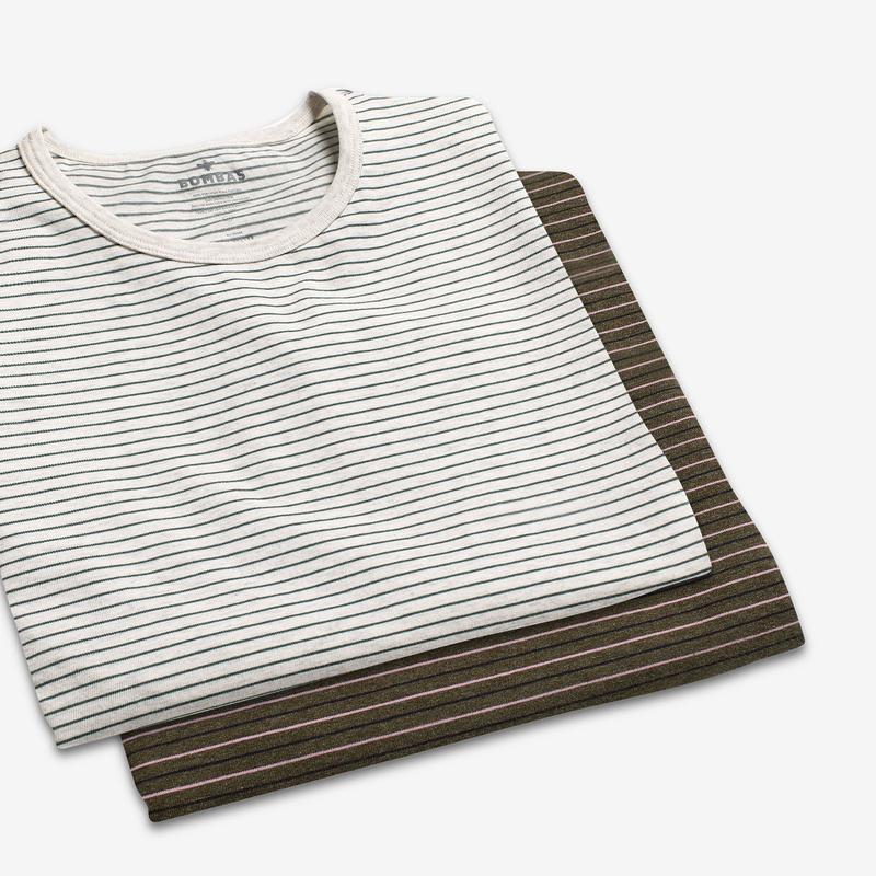 Women's Pima Cotton Striped Crew Neck T-Shirt