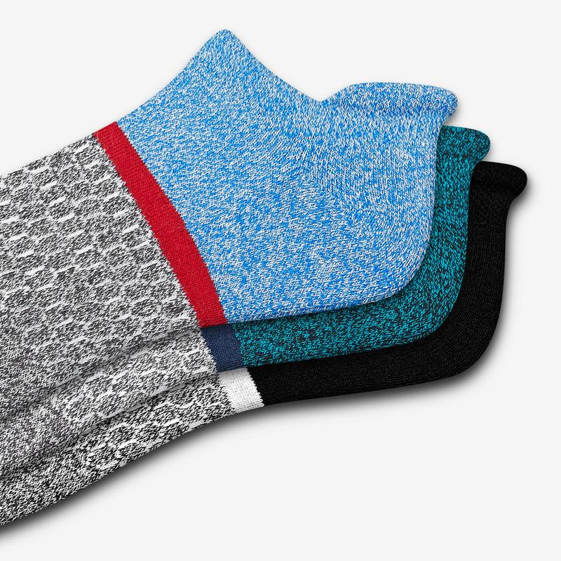 Men's Striped Colorblock Ankle Socks 3-Pack
