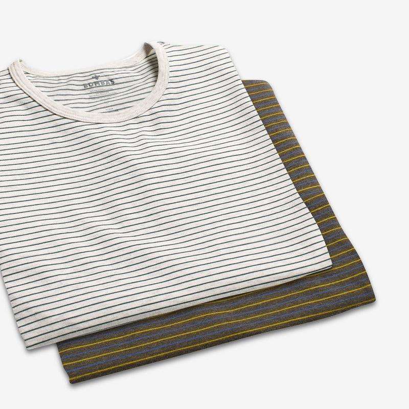 Men's Pima Cotton Striped Crew Neck T-Shirt
