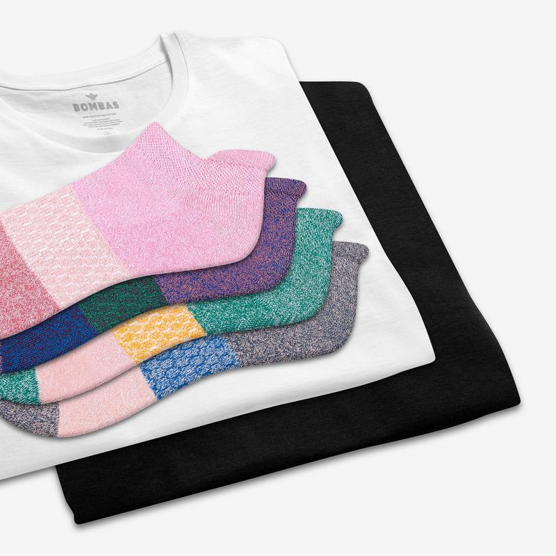 Women's Crew Neck T-Shirt & Tri-Block Ankle Sock 8-Pack