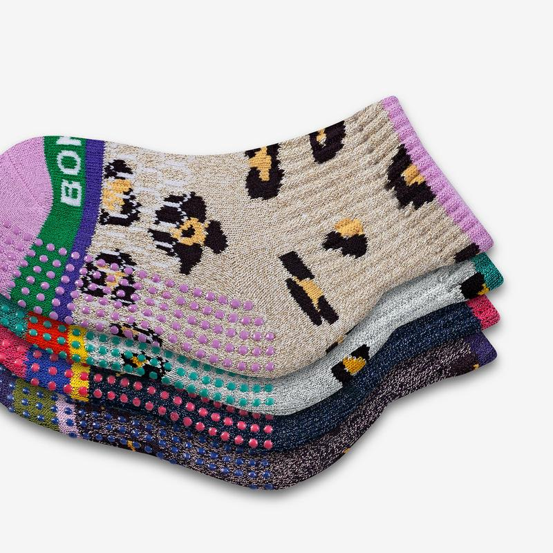 Toddler Sparkle Leopard Gripper Calf Sock 4-Pack