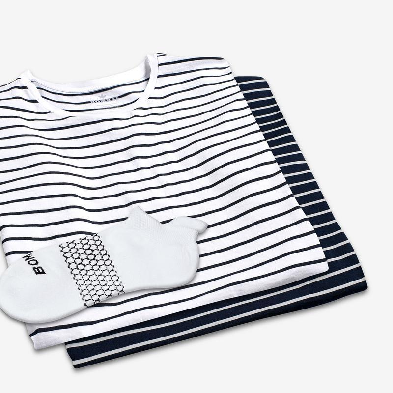Women's Pima Cotton Nautical Stripe T-Shirt & Ankle Sock 6-Pack