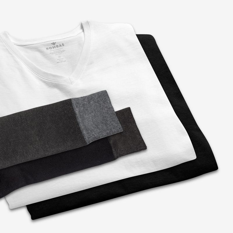 Men's V-Neck T-Shirt & Dress Over The Calf Sock 6-Pack