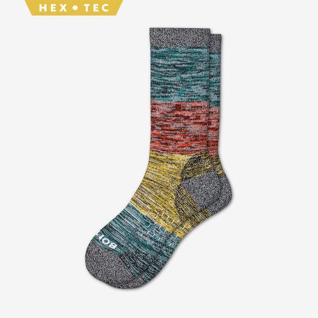 teal-orange-yellow Men's Hiking Colorblock Calf Socks