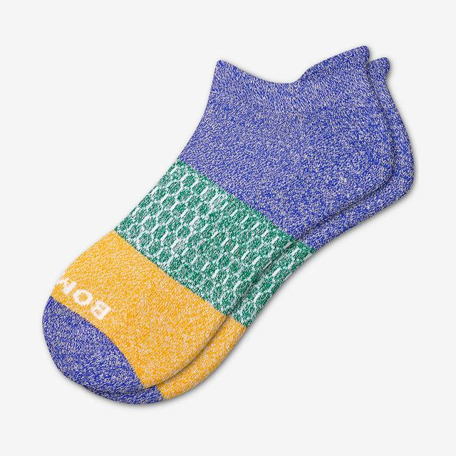 volt-green-saffron Women's Tri-Block Ankle Socks