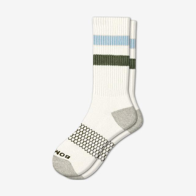 white-blue-green Men's Vintage Stripe Calf Socks