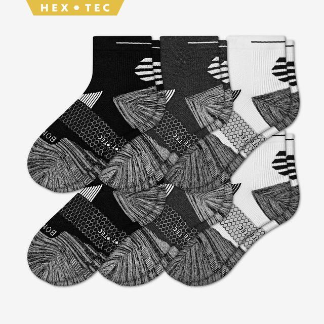 white-charcoal-black Women's Performance Running Quarter Sock 6-Pack