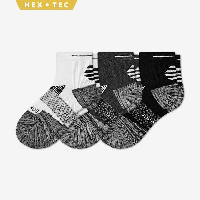 white-charcoal-black Women's Performance Running Quarter Sock 3-Pack