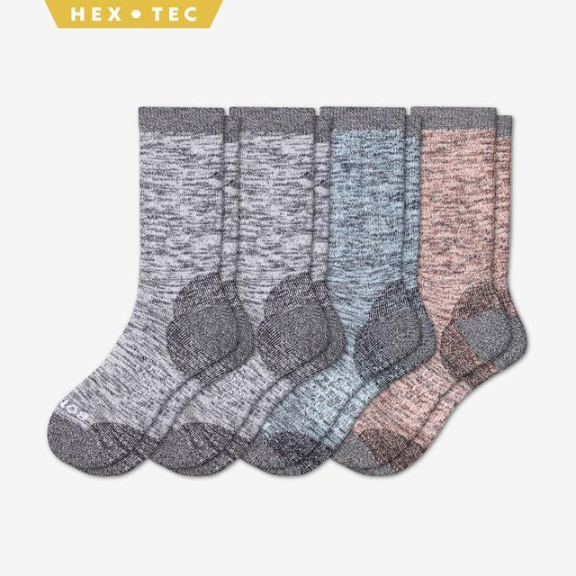 white-dusty-blue-coral Women's Hiking Calf Sock 4-Pack