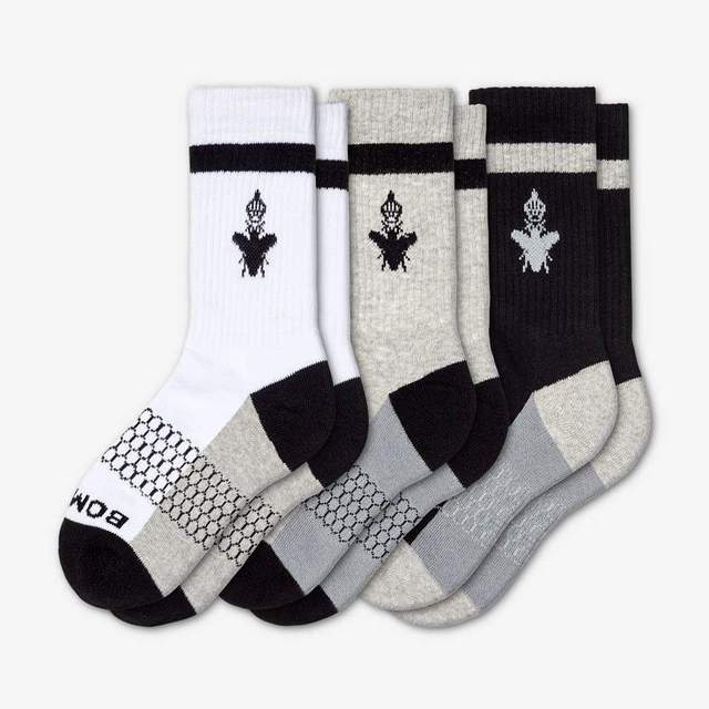 white-grey-black Youth Calf 3-Pack